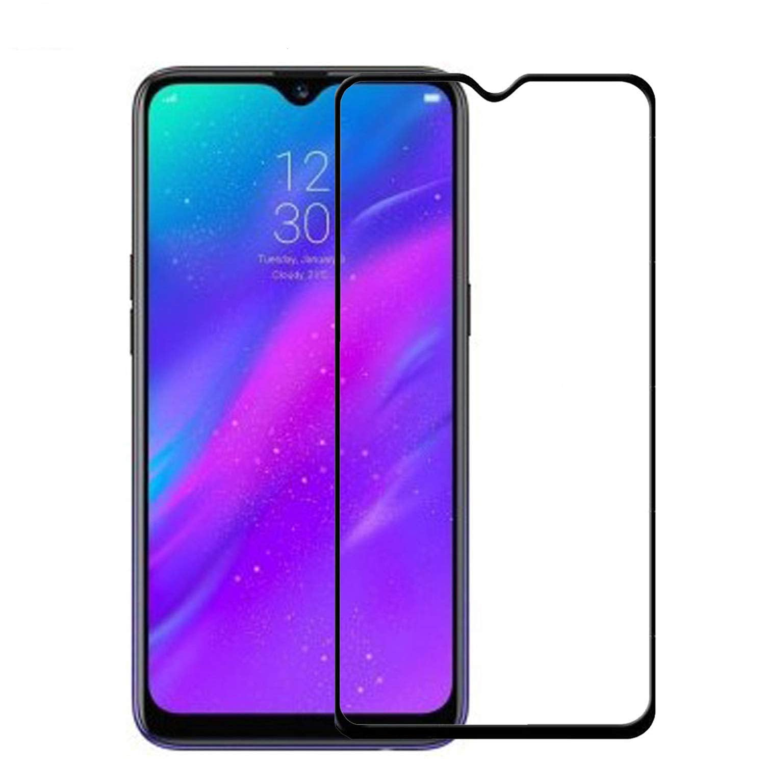 tempered glass edge to edge full screen coverage for : realme 3i (black, full glue, pack of 1)