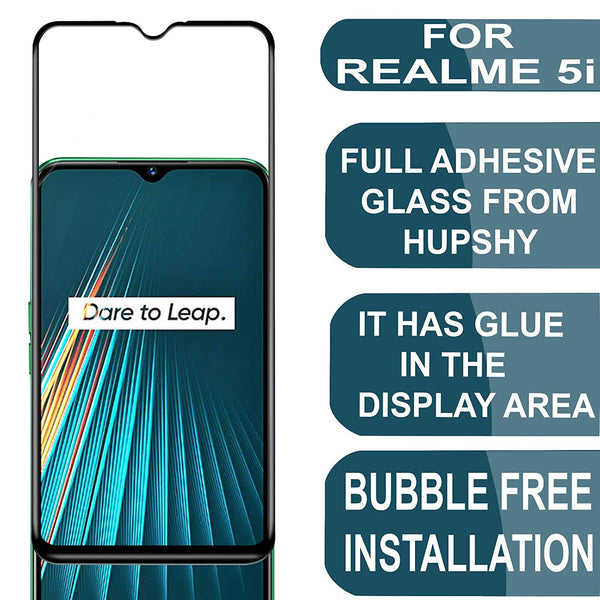 Realme 5i Tempered Glass with 9H Protection for Realme 5i (Black)- Pack of 1