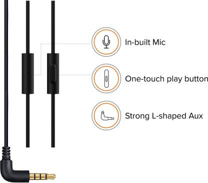Mi Basic Wired Headset with Mic  (Black, In the Ear)