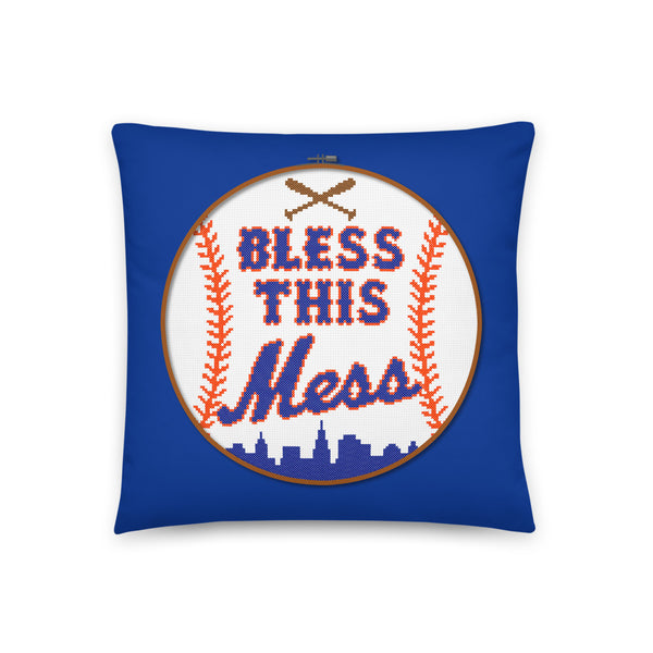 Bless This Mess (Blue) - Throw Pillow