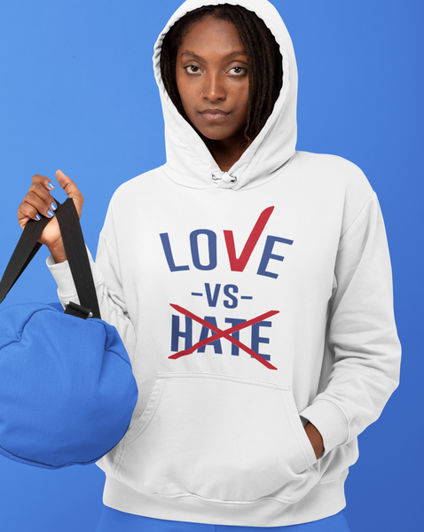 Love -Vs- Hate White Hoodie