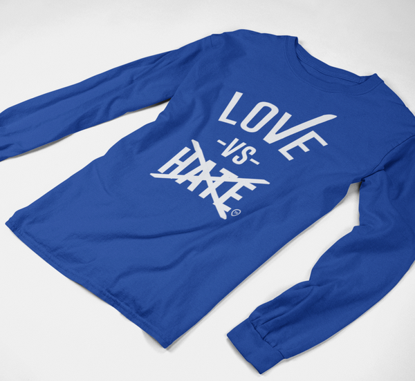 Love -vs- Hate Gray/Blue/Black/ Long Sleeve Shirt