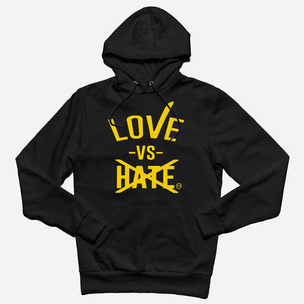 Love -vs- Hate Yellow/Black Pullover Hoodie