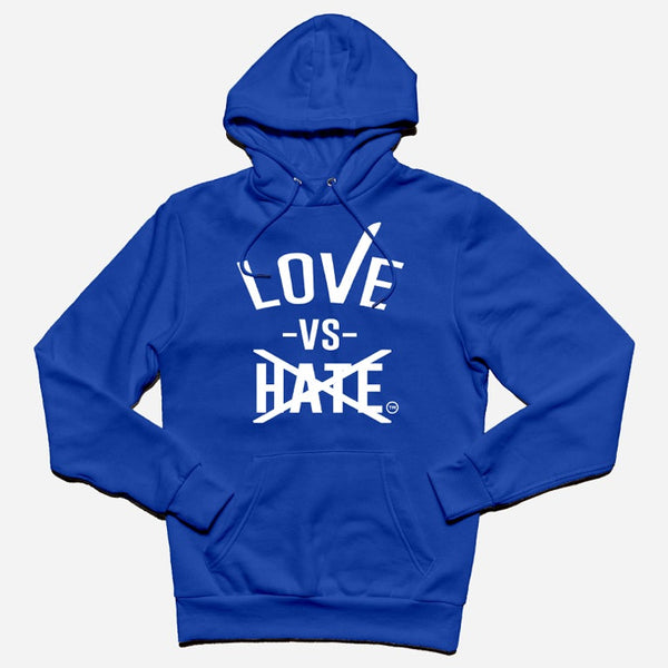 Love -vs- Hate White/Blue Pullover Hoodie