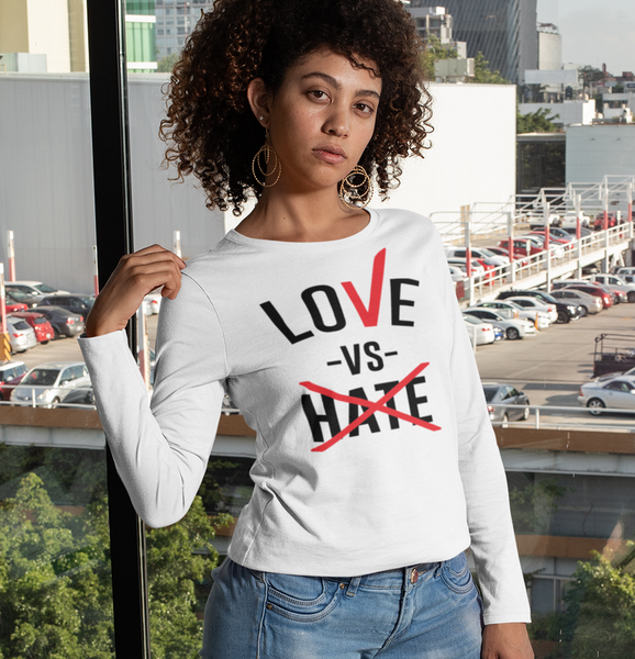 Love-vs- Hate Black/Red/White Long Sleeve Shirt
