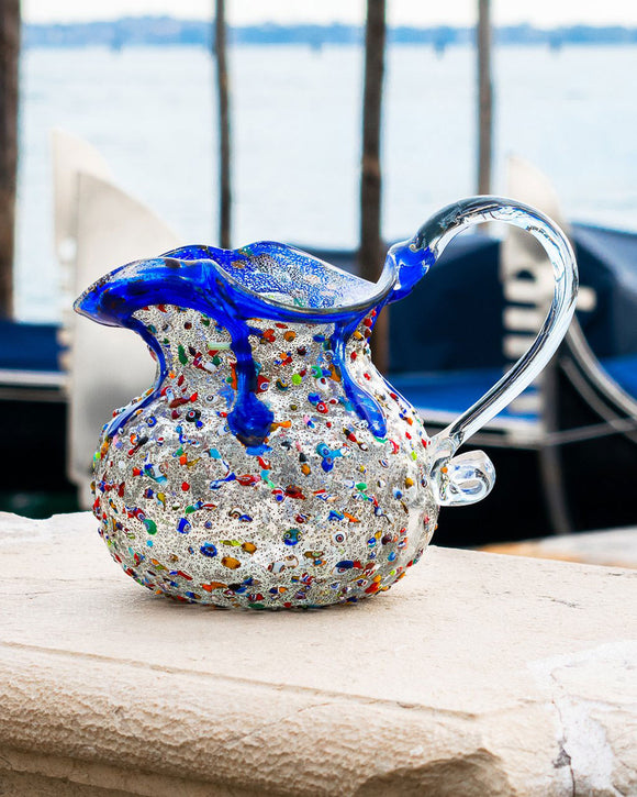 Brocca in Vetro di Murano Blu e Murrine