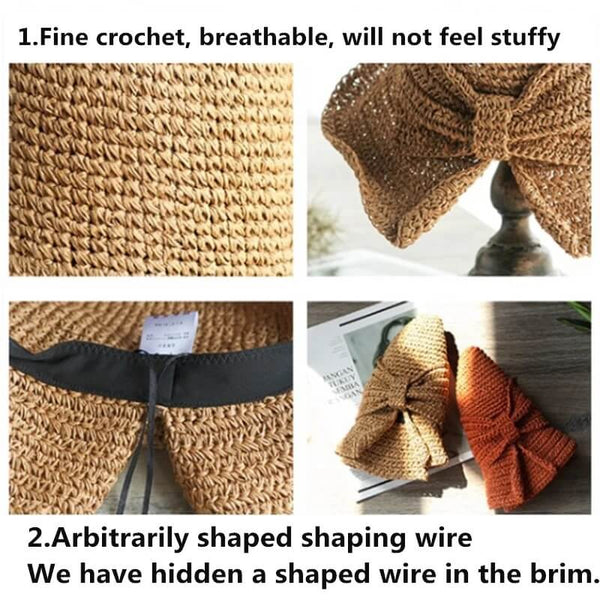 Last Day Promotion -Handmade & Fordable Retro Straw Sun Hat