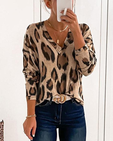 LEOPARD PRINT V NECK TOP (6 COLORS)
