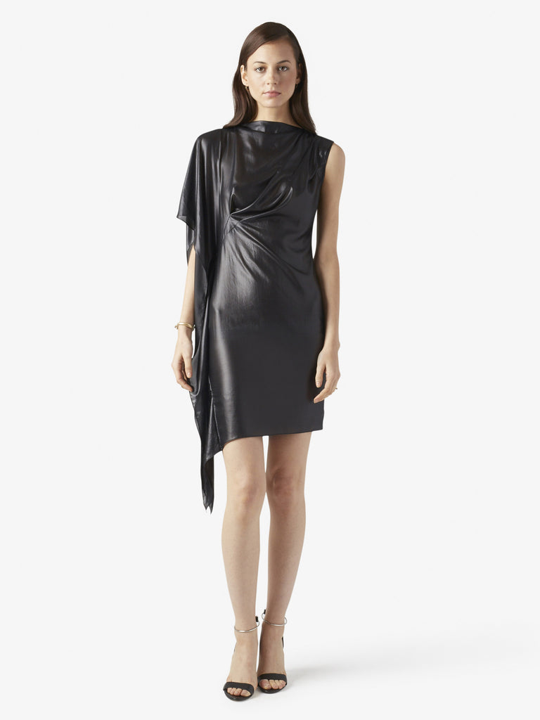 One Sleeve Draped Leather Look Womens Dress