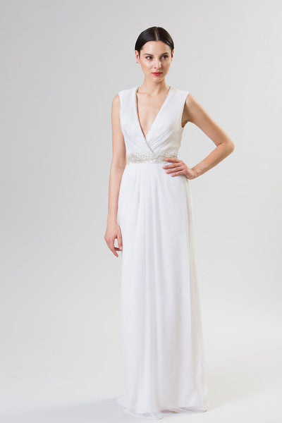 Junko Yoshioka Bridal Gowns - Wide strapped, natural waist, crinkle chiffon and sequin gown. Complete with jeweled belt and beaded trim neckline. Keyhole back.