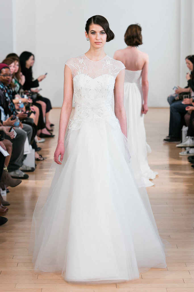 Junko Yoshioka Bridal Gown - Drop waist, tulle skirt, ballgown with a bead embellished lace bodice. Illusion covered sweetheart neckline