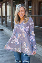 Load image into Gallery viewer, Dusty Lavender Floral Hoodie
