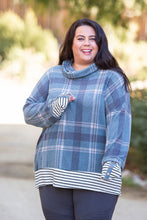 Load image into Gallery viewer, Teal Me About It Plaid Thumbhole Tunic