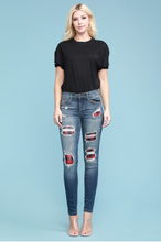 Load image into Gallery viewer, Red Plaid Patched Judy Blue Skinnies
