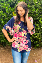 Load image into Gallery viewer, Navy Blooms Ruffle Sleeve Top