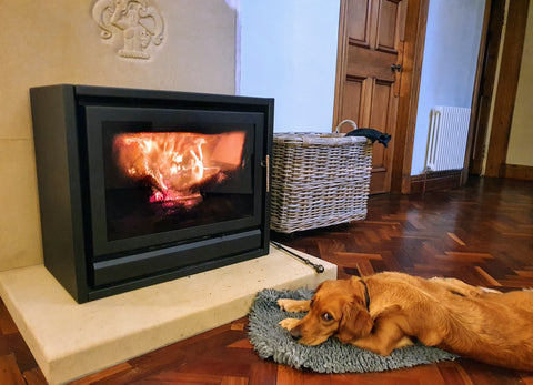 cosy alpaca socks for valentines day dog by fire