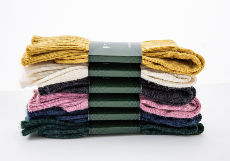 soft and warm mohair socks product range, six pairs piled up