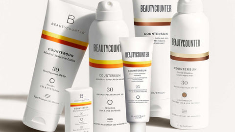 six bottles of Beautycounter mineral based sunscreens on a white screen