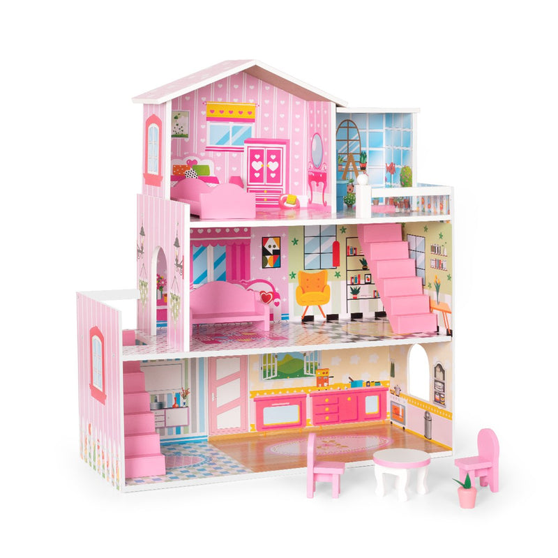 Kids Wooden Dollhouse Modern Mansion Playset