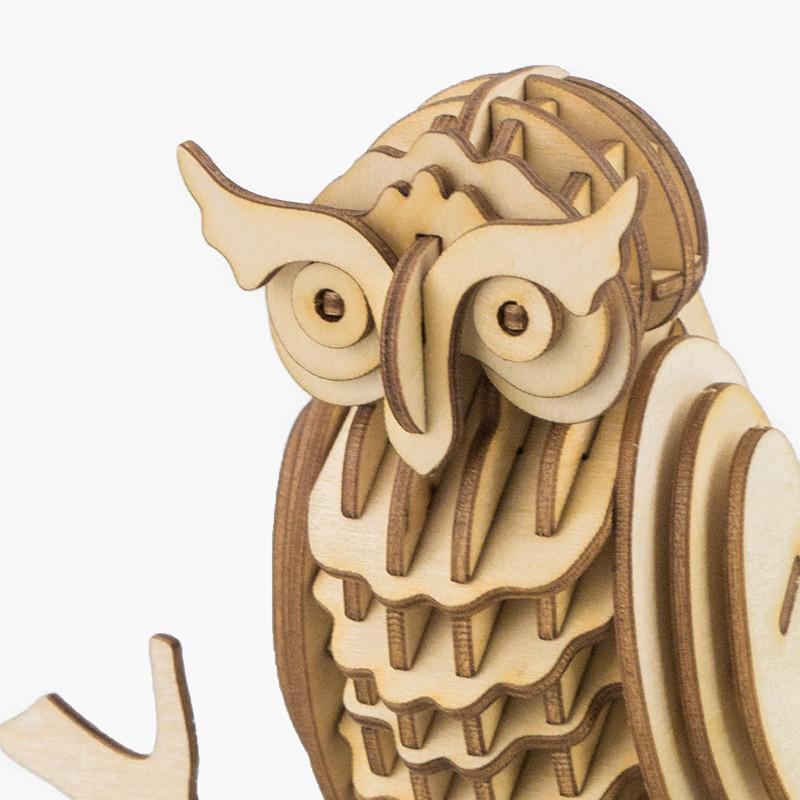 Owl TG252 Animal Birds Model 3D Wooden Puzzle