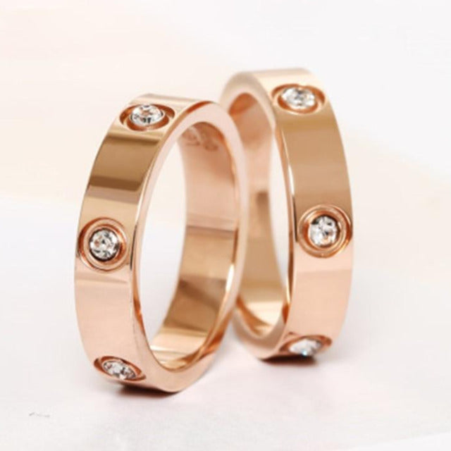 Trendy Rose Gold Color Love Ring Matching Couple Rings