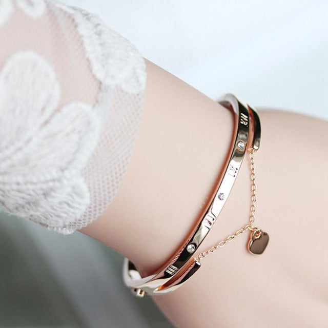 Luxury Rose Gold Charm Bracelet with Love Heart Bangles