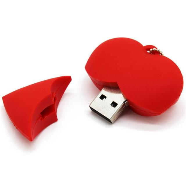 Cartoon Red Heart USB Flash Drive