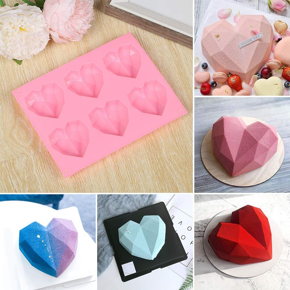 Diamond Heart Shape Silicone Cake Molds for Baking