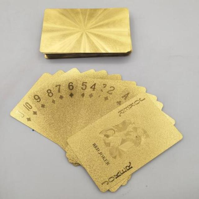Gold Foil and Black Waterproof Plastic Playing Cards Professional