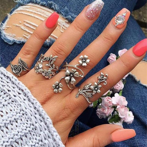 4pcs Antique Silver Vintage Rose Flower Bohemian Ring Set - giftfeedstore