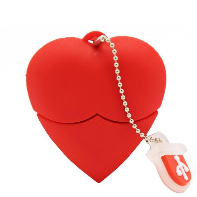 Cartoon Red Heart USB Flash Drive - giftfeedstore
