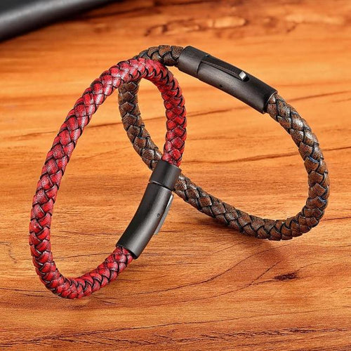 Classic Style Leather Braided Bracelet For Men - giftfeedstore
