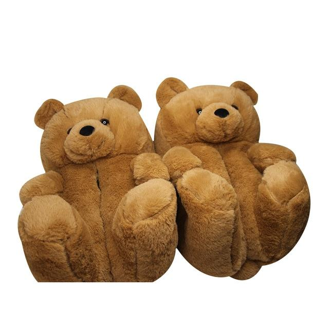 Cute Warm Teddy Bear Slippers For Indoors - giftfeedstore