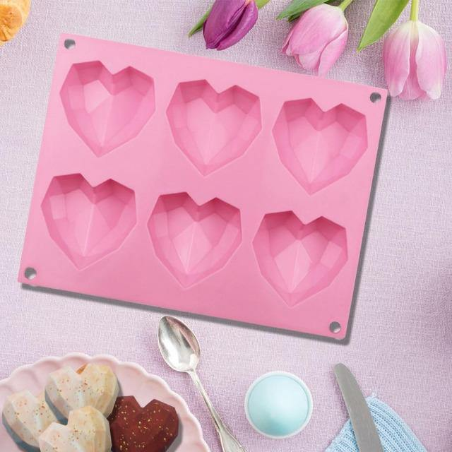 Diamond Heart Shape Silicone Cake Molds for Baking - giftfeedstore