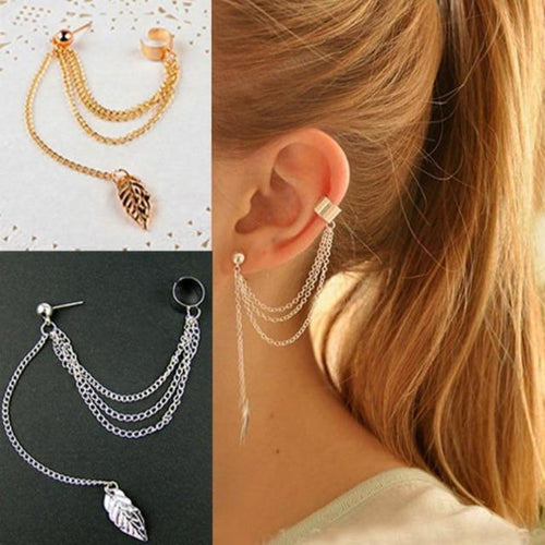 Ear Clip Leaf Tassel Earrings For Women - giftfeedstore