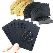 Load image into Gallery viewer, Gold Foil and Black Waterproof Plastic Playing Cards Professional - giftfeedstore