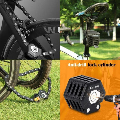 Hexagonal Foldable Bike Lock Anti-Theft Bicycle Chain - giftfeedstore