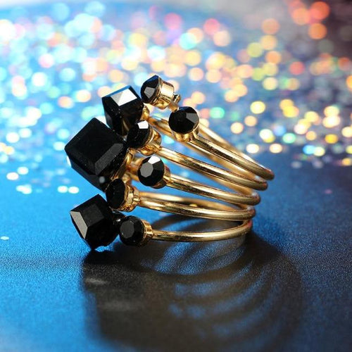 Modern Geometric Black Rhinestone Ring Set for Women - giftfeedstore