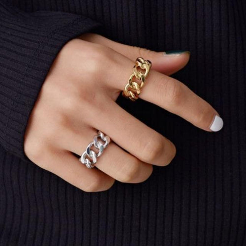 Twisted Geometric Chunky Chain Rings for Women - giftfeedstore