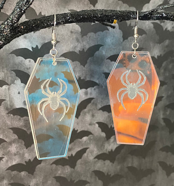 Iridescent Coffin Dangly Earrings with Etched Spiders