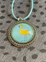 Vulpecula - Gold Flamingo Glass Necklace Pendant