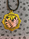 Vulpecula - Pink and Gold Leaves Resin Pendant