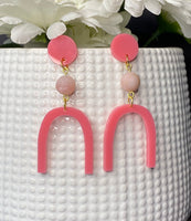 Merak - Pink Gemstone Arch Earrings