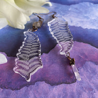 Liquet Fern and Quartz Dangles