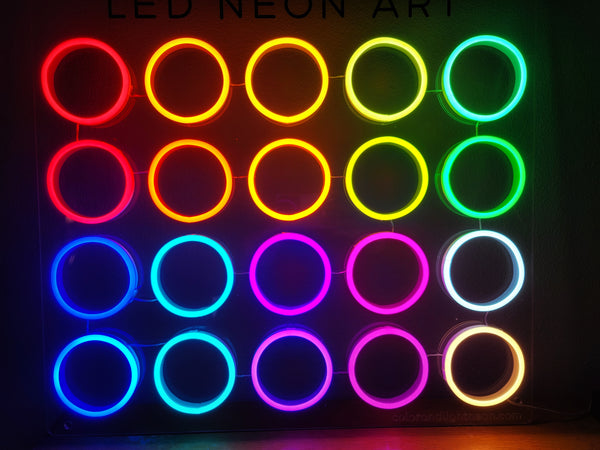 LED neon color chart turned on