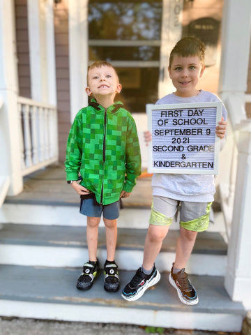 Two of the Little Men First Day of School 2021