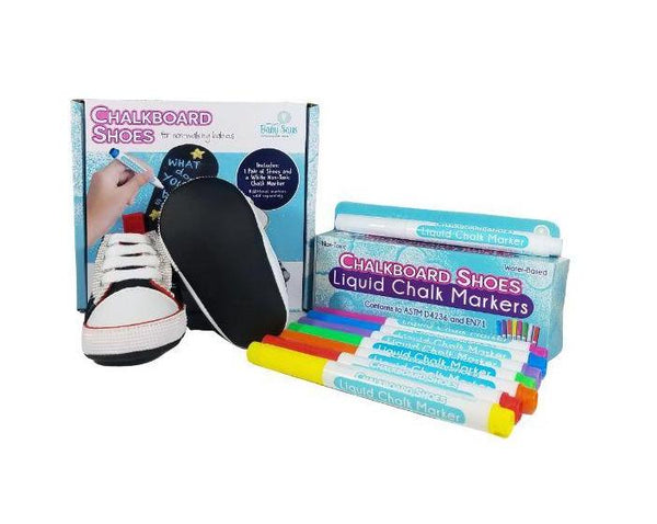 3-6 Months - Baby Says - Black Baby Sneakers and 8-pack Marker Set