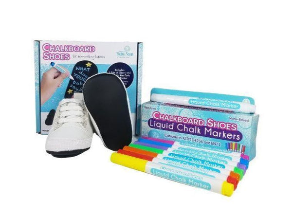 0-3 Months - Baby Says - White Baby Sneakers and 8-pack Marker Set