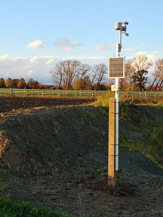 Solar powered weather station with water level sensor