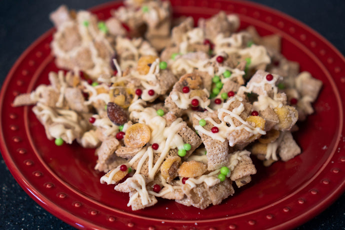 Gluten-Free Christmas Sugar Cookie Granola and Rice Crisp Party Mix